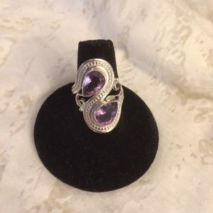 Sterling Amethyst Bypass ring. Size 8